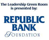 Logo: The Leadership Green Room, offering professional development, leadership development and soft skills training, is presented by Republic Bank Foundation